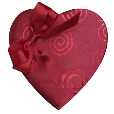 Red Swirl with Bow Heart, 14 Piece Box, Assorted Chocolates